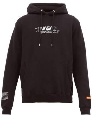 Heron Preston Nasa Print Cotton Hooded Sweatshirt - Mens - Black White