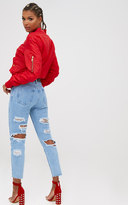 PrettyLittleThing Light Wash Extreme Distressed Back Straight Leg Jean