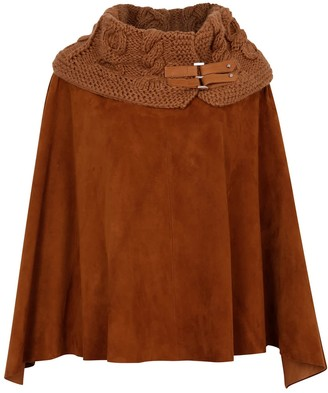Zut London Suede Leather Poncho With Alpaca Blend Hand Knitted Collar- Brown