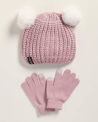 DKNY Girls) Two-Piece Femme Double Pom-Pom Beanie & Gloves Set