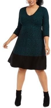 Taylor Plus Size Animal-Print Sweater Dress