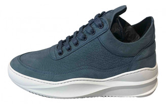 Filling Pieces Blue Leather Trainers