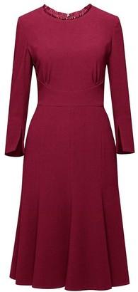 Christina Burgundy Fluted Dress