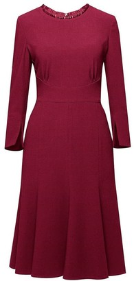 Rumour London Christina Burgundy Fluted Dress