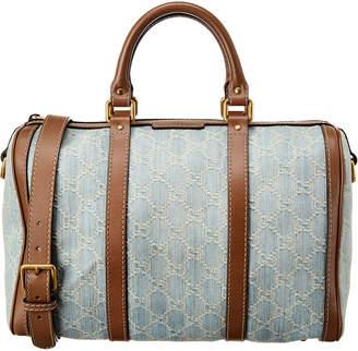 Gucci Blue Denim & Brown Leather Boston Bag