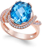Macy's London Blue Topaz (4-9/10 ct. t.w.) and White Topaz (1/3 ct. t.w.) Ring in 14k Rose Gold-Plated Sterling Silver