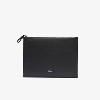 Lacoste Men's Soft Mate Matte Full-Grain Leather Zippered Clutch