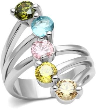 Covet Rhodium Plated Multi Color CZ Ring