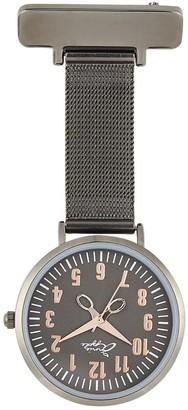 Bermuda Watch Company Annie Apple Rose Gold & Gunmetal Grey Mesh Nurse Fob Watch
