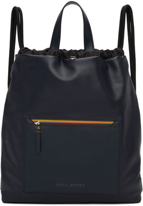 Paul Smith Navy Leather Stripe Duffle Bag