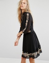 Miss Selfridge Embroidered Floral Skater Dress