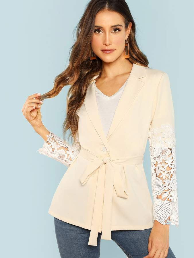 84fc35a89738 Blazer With Lace Sleeves - ShopStyle