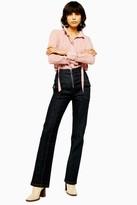 Topshop Womens Idol Raw Denim Zip Flare Jeans - Indigo