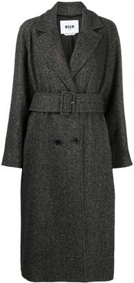 MSGM Belted Herringbone Coat