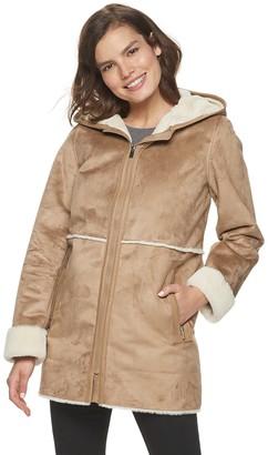 Details Women's Hooded Faux-Shearling Walker Jacket