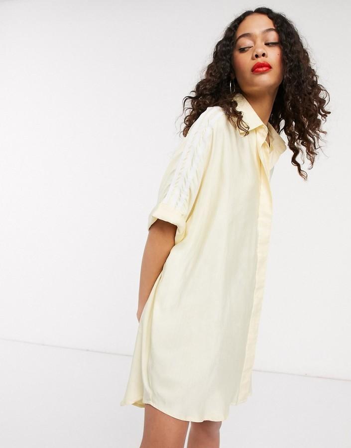 adidas adicolor short sleeve satin look shirt dress in yellow