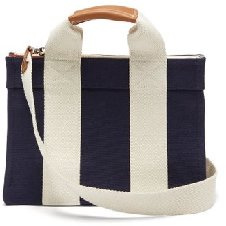 Rue De Verneuil - Lady Small Leather-trimmed Canvas Tote Bag - Womens - Navy Multi