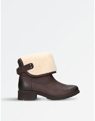 UGG Ladies Brown Waterproof Aldon Wool-Cuff Leather Boots, Size: Eur 37 / 4 Uk Women