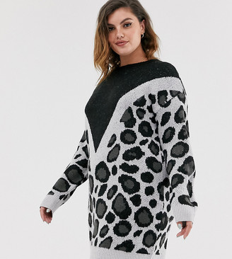 Brave Soul Plus simba chevron animal print jumper dress
