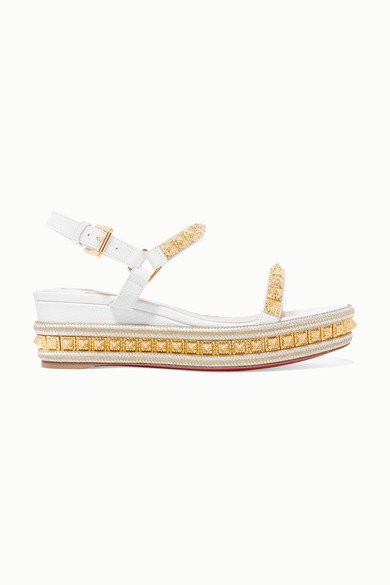 low priced b6424 dca5b Pyraclou 60 Studded Lizard-effect Leather Wedge Sandals - White