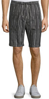 CNC Costume National Drawstring-Waist Striped Shorts, Black/White