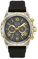Bulova Men's Designer Chronograph Watch Rubber Strap - Water Resistant Stainless Steel W/ Gold Marine Star 98B277