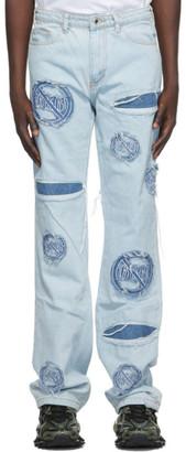 Who Decides War by MRDR BRVDO Blue Anti-666 Logo Jeans