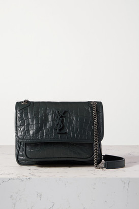 Saint Laurent Niki Baby Mini Crinkled Croc-effect Leather Shoulder Bag - Green