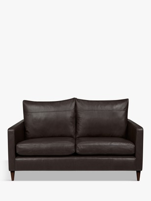John Lewis & Partners Bailey Small 2 Seater Leather Sofa, Dark Leg