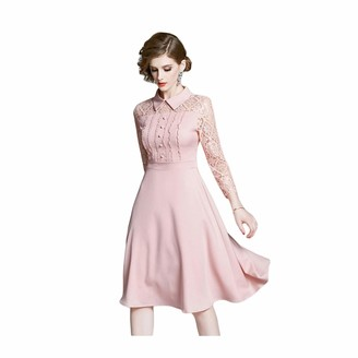 DHF Ladies lace Long-Sleeved Dress Temperament Waist Waist was Thin A-line Skirt Pink (Color : Pink Size : XXL)