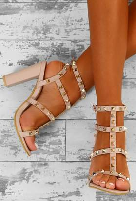 Pink Boutique Rock Steady Nude Studded Cage Block Heels