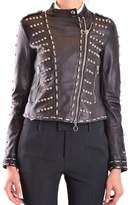 Pinko Women's Black Leather Outerwear Jacket.