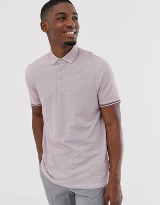 Ted Baker polo shirt with texture and tipping-Pink
