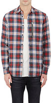 R 13 Men's Button-Front Shirt-Red Size S