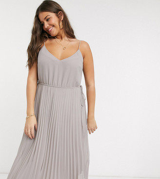 ASOS DESIGN Curve pleated cami midi dress with drawstring waist in grey