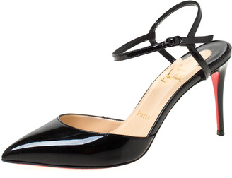 Christian Louboutin Black Patent Leather Rivierina Ankle Strap Sandals Size 36.5