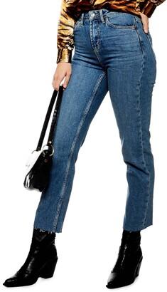 Topshop Straight Leg Raw Hem Jeans