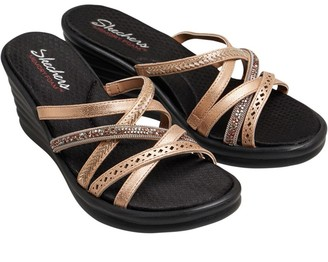 Skechers Womens Rumbler Wave New Lassie Multi Strap Memory Foam Wedge Sandals Rose Gold