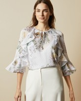 Ted Baker Woodland Ruffle Top With Keyhole Detail