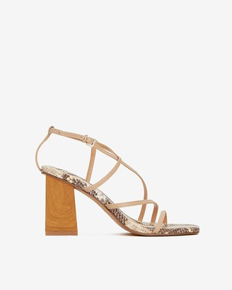Express Snakeskin Strappy Wood Block Heel Sandals