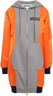 Moschino Paneled Neon Shell And French Cotton-terry Hooded Jacket