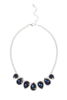Quiz Silver And Navy Jewel Necklace