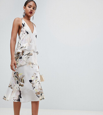 Asos DESIGN Tall floaty cami midi dress in blurred floral print