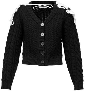 Cecilie Bahnsen Milo Contrast-cape Cable-knit Wool-blend Cardigan - Black