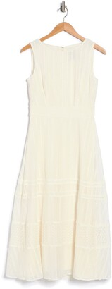 Taylor Embroidered Round Neck Chiffon Midi Dress