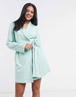 ASOS DESIGN jersey mini robe in mint