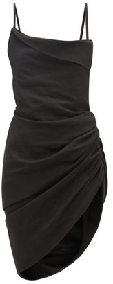 Jacquemus Saudarde Draped Hemp-blend Dress - Black