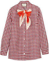 Gucci Pussy-bow Printed Silk-twill Shirt - Red