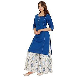 Wild Hazel Fashion Dress Christmas Salwar Suit in Plazzo Style for Women Cotton Relaxed Solid (XXL)