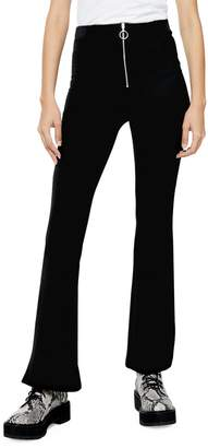 Topshop Corduroy Front Zip Flare Trousers